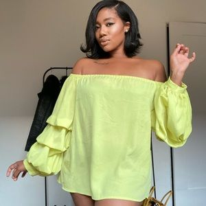Neon Off Shoulder Blouse w/ Ruffled Sleeve